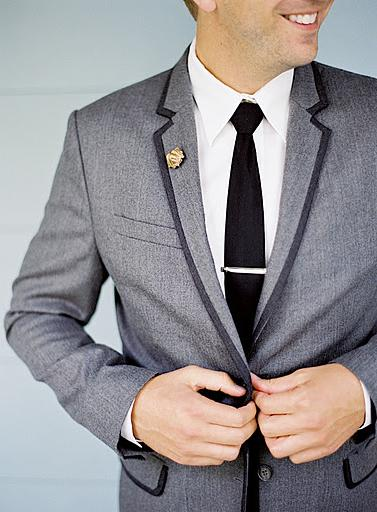 The lapel of the wedding suit