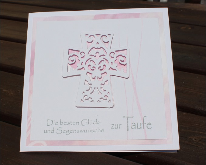 Taufkarte Mädchen rosa Kreuz 00