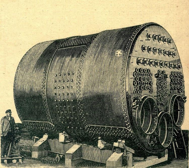 Calderas de la maquina de vapor. Revista de Navegación y Comercio. Año 1893.jpg