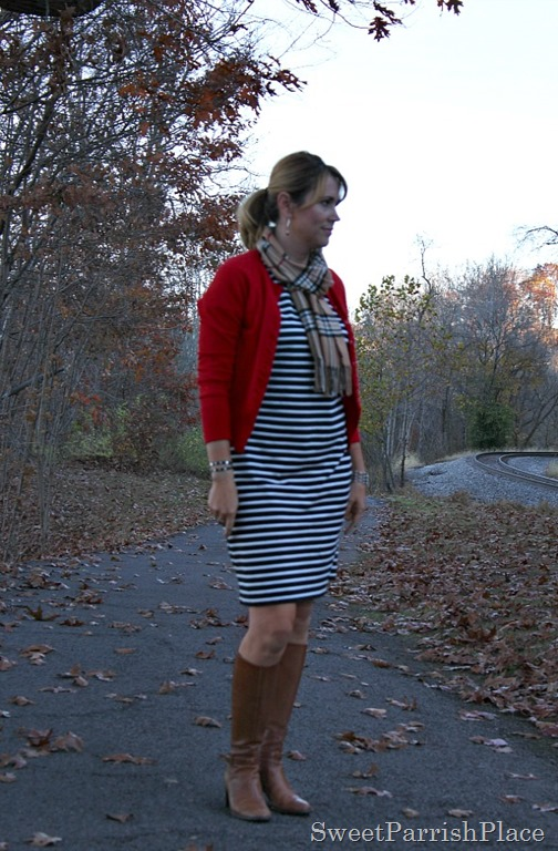 striped-dress-plaid-scarf-red-cardigan-brown-boots-1