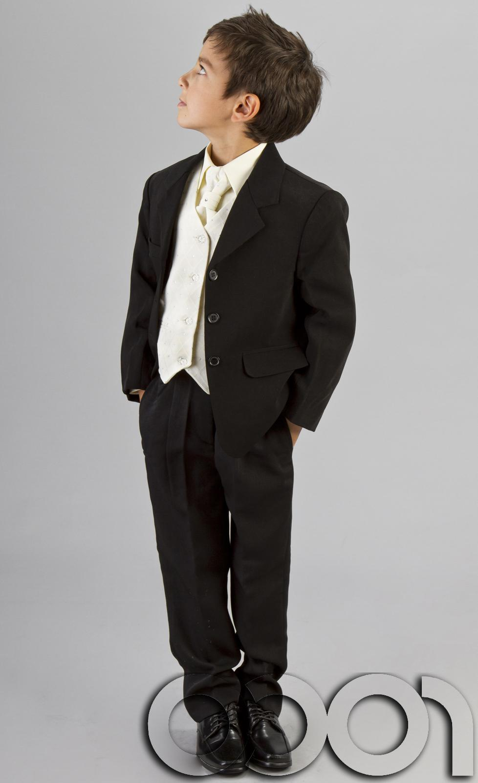 BOYS SUITS BLACK IVORY 5 PIECE WEDDING 3-6M TO 14YRS   eBay