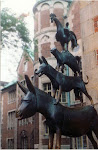 Statue of the Bremen Town Musicians in downtown Bremen, Germany.