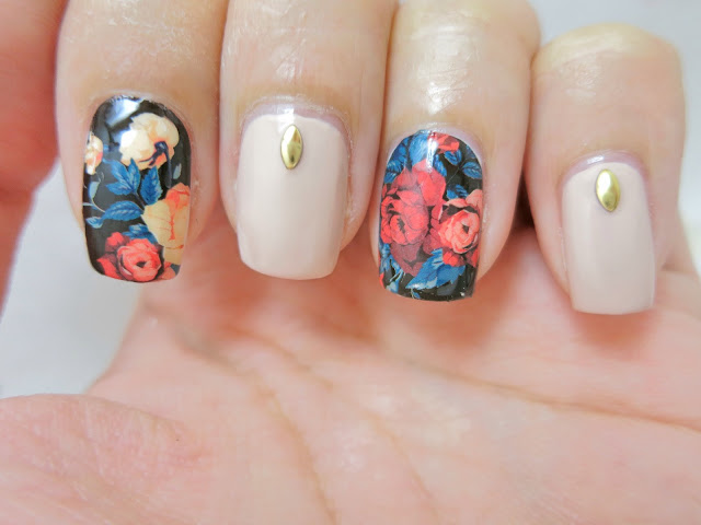 Roses on a Dark Background Nail Art Water Decal BP-W05 (Born Pretty Store Review)