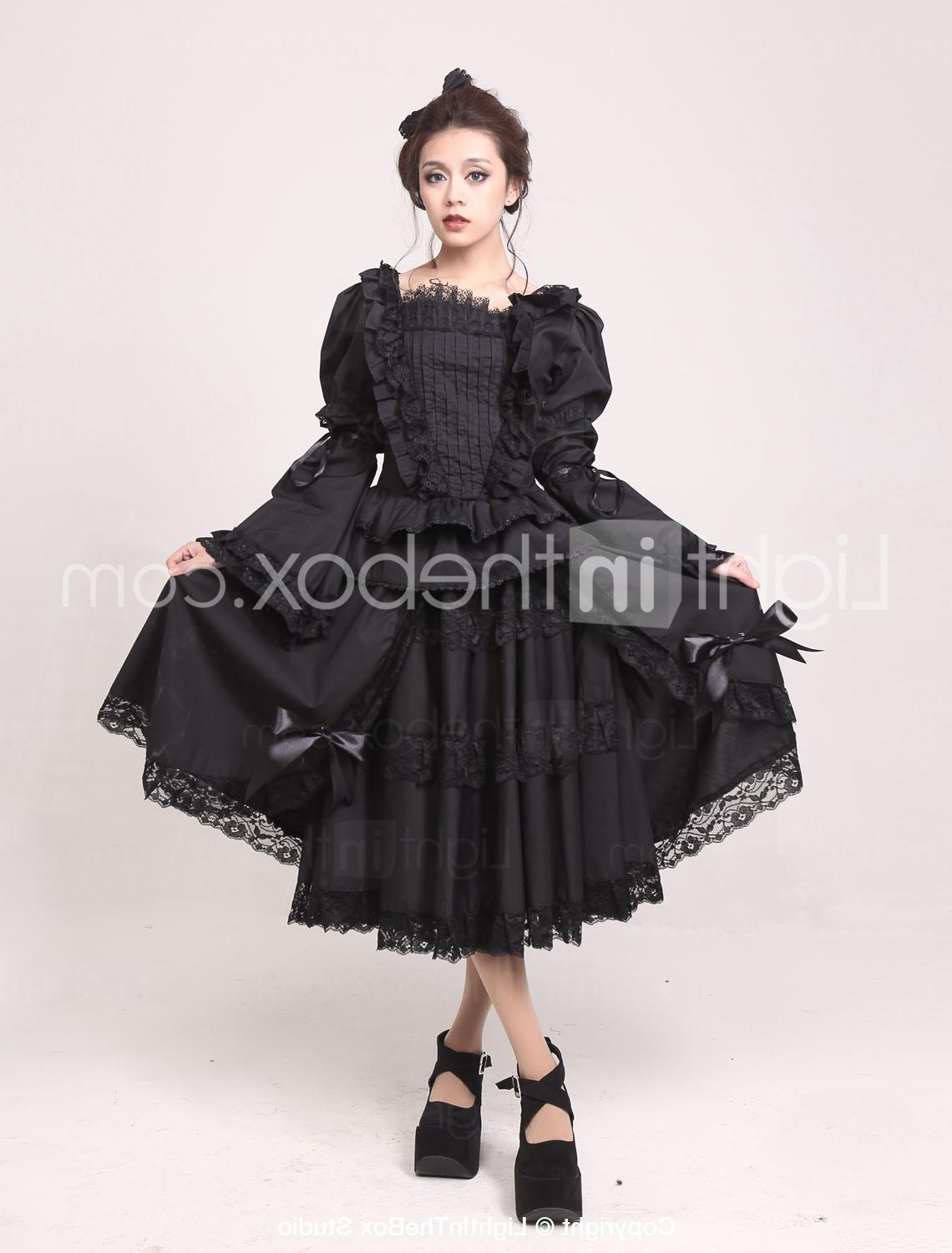 Long Sleeve Tea-length Black