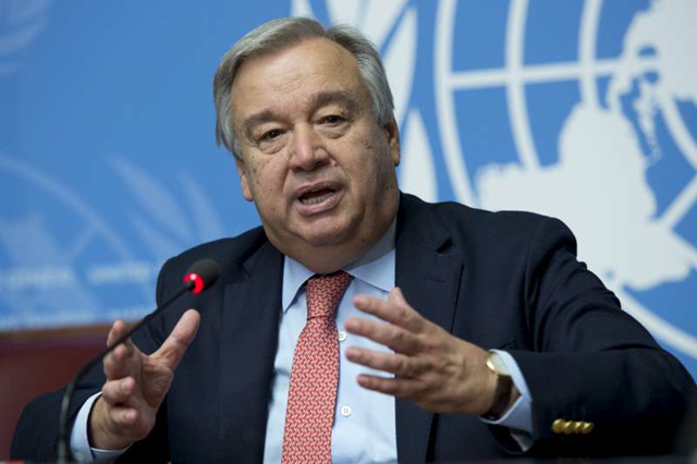 Ant&oacute;nio Guterres, UN High Commissioner for Refugees speaking at the closing press conference of the 66th Executive Committee in Geneva.<br /> Photo: J-M. Ferr&eacute; / UNHCR