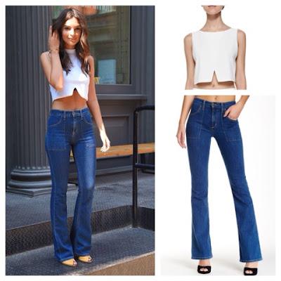 Emily Ratajkowski Emrata in Joe's Charlie High Waist Flared Jeans