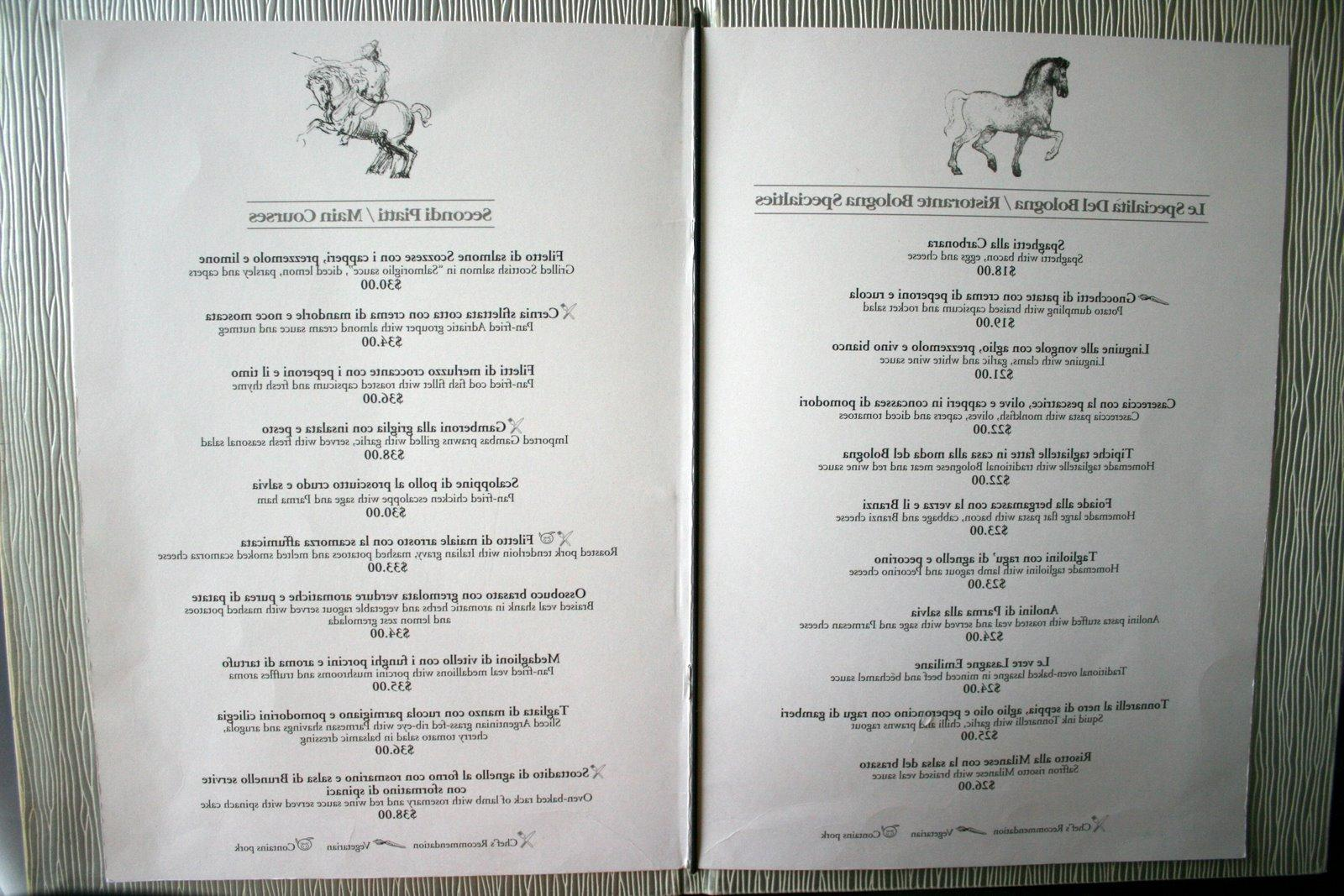 menu and a small buffet of
