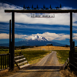 Rice Ranch and Mt. Shasta 9008 by Ken Wade - Buildings & Architecture Architectural Detail ( clouds, ranch, landscape, mount shata )