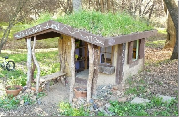cob playhouse with living roof