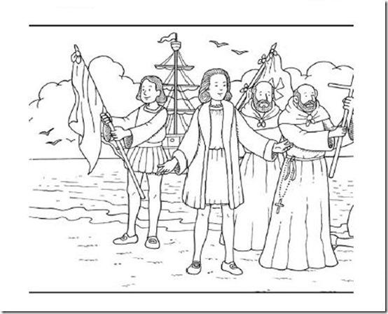 Cristbal Coln para colorear Descubrimiento de Amrica