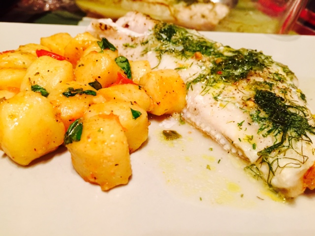 White wine baked redfish with lemon and dill