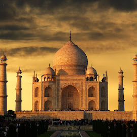 A Taj Sunset by Mrinmoy Ghosh - Buildings & Architecture Architectural Detail