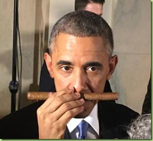 obama sniffing cigar