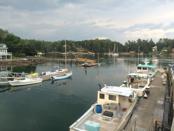 Boat docked outside of the restaurant
