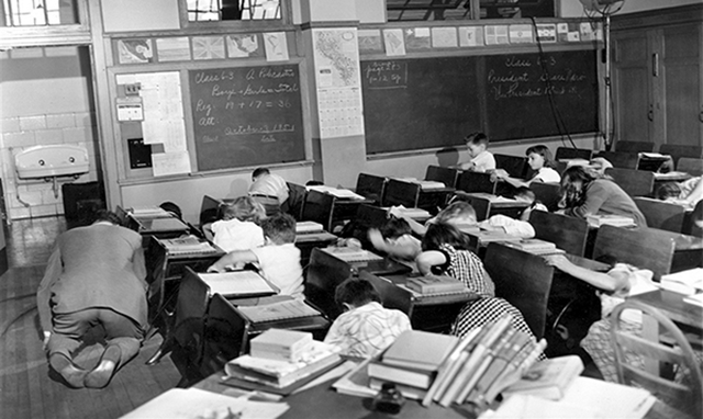 A duck and cover drill in a U.S. school. Photo: Perth Amboy Free Pubic Library
