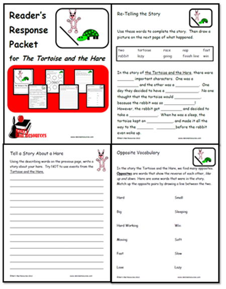 Tortoise and the hare reader's response packet with vocabulary and comprehension strategies. Free download from Raki's Rad Resources.