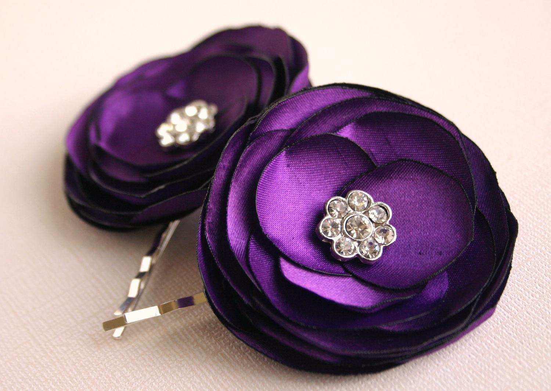 Wedding Hair Flowers - Purple