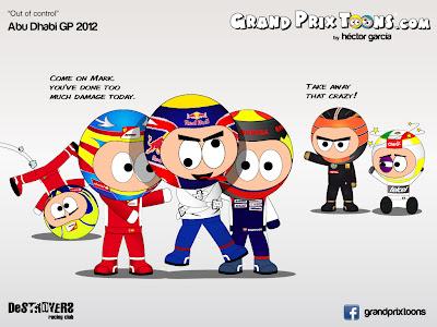 комикс Out of control Grand Prix Toons по Гран-при Абу-Даби 2012