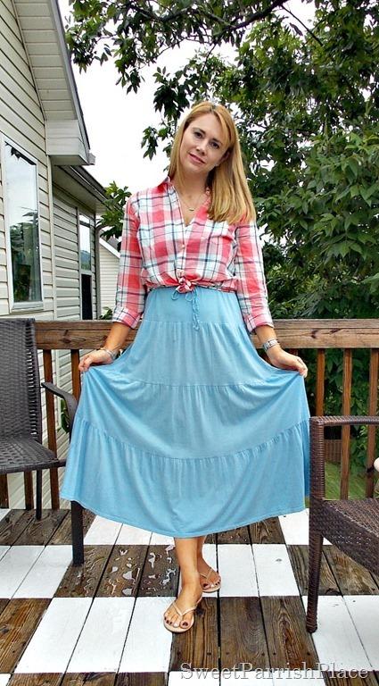 Blue maxi dress, plaid blouse, nude flip flops1