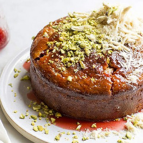 Banana, Rhubarb And Yoghurt Cake With Pistachios And Halva