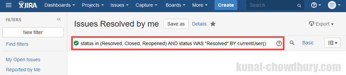 Custom filter in JIRA dashboard - Issues resolved by me (www.kunal-chowdhury.com)