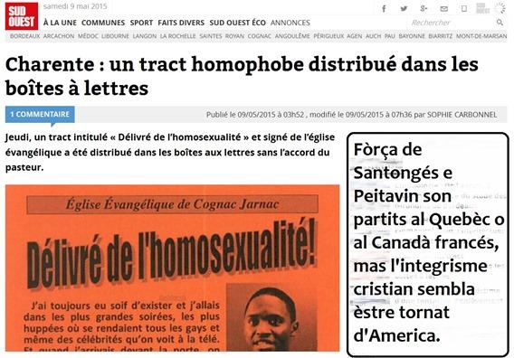 omofobia en Peitavin glèisa evangelica