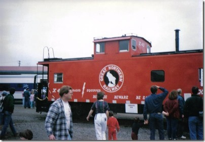 Great Northern Caboose X40 at Union Station in Portland, Oregon on May 11, 1996