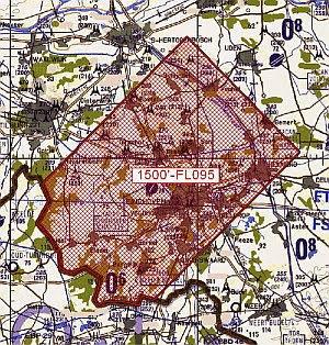 kaartje van het luchtruim rond Eindhoven