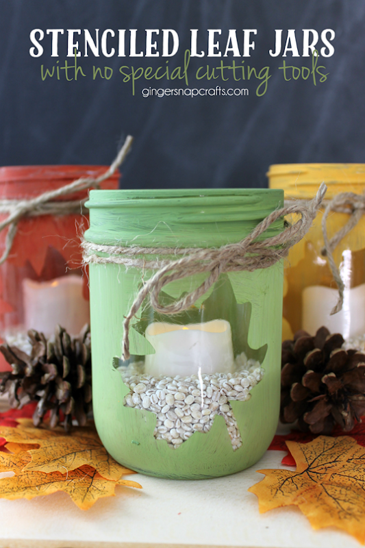 Stenciled Leaf Jars with no special cutting tools at   GingerSnapCrafts.com