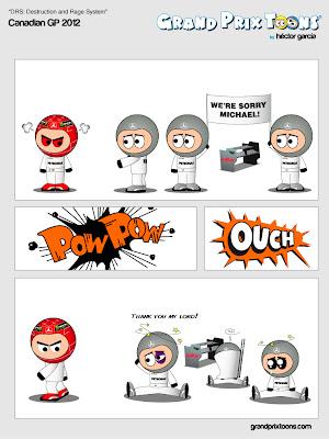 Михаэль Шумахер зол на механиков Mercedes из-за проблемы с DRS на Гран-при Канады 2012 - комикс Grand Prix Toons