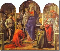 Fra-Filippo-Lippi-Virgin-and-Child-Surrounded-by-Angels-with-St.-Frediano-and-St...ori-Altarpiece-