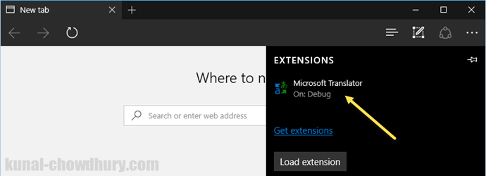 Windows 10 - Microsoft Edge - Installed Extensions in Microsoft Edge (www.kunal-chowdhury.com)