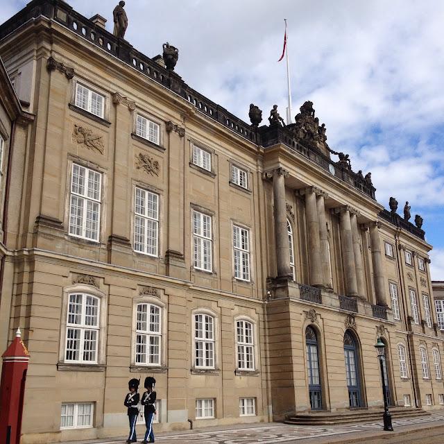 Guards walking outside Amalienborg, Copenhagen, Denmark