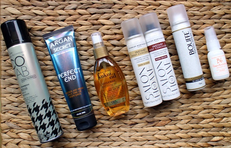 Colab-Dry-Shampoo,Argan-Secret-Perfect-End,OGX-Kukui-Oil,CharlesWorthington_Instant_root-Concealer-DarkBlonde,WarmBrown,Bumble-Hair-Primer