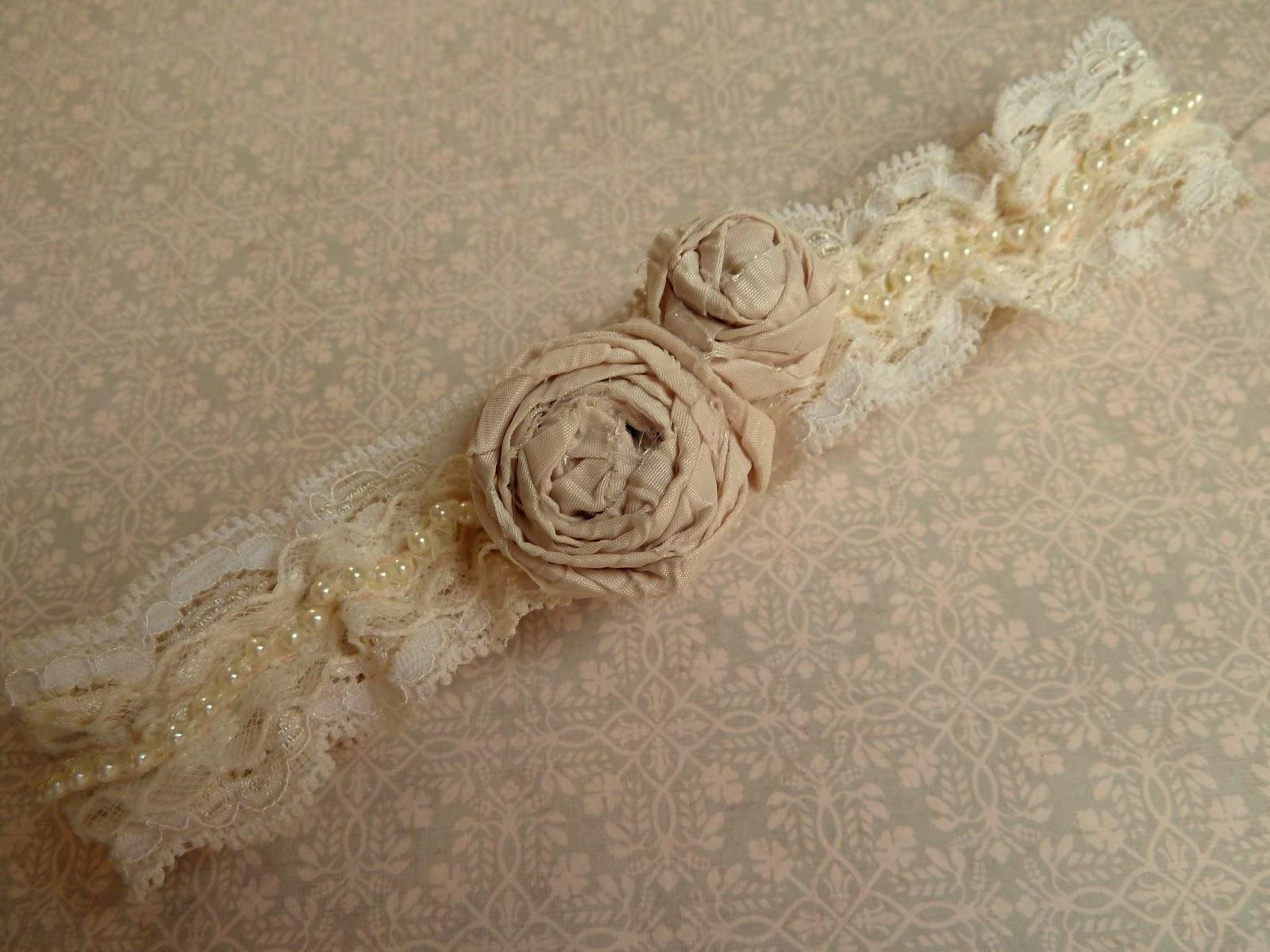 A hand sewn pearl and lace