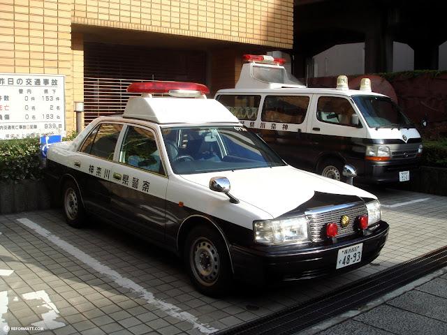 japanese police cars in Yokohama, Tokyo, Japan