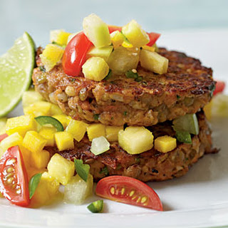 Lentil-Barley Burgers with Fiery Fruit Salsa