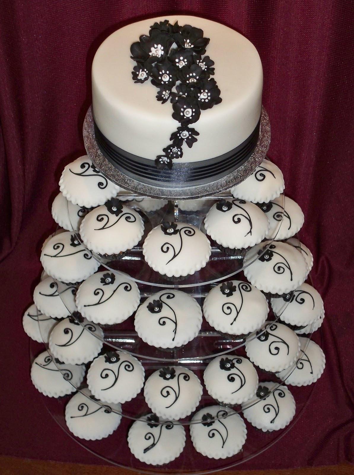 black and white cupcake tower