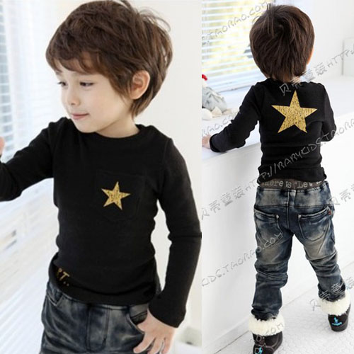 Cool Korean Toddler Kids Boyu0026#39;s Long Sleeve Star T-shirt Top Tee Casual Solid 1BR | EBay