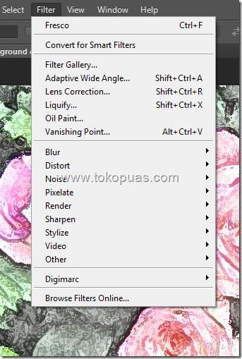 cara menampilkan filter artistic photoshop