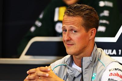 Михаэль Шумахер на пресс-конференции в четверг на Гран-при Бельгии 2012