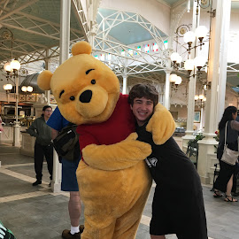 A Hug From Winnie the Pooh by Kristine Nicholas - Novices Only Portraits & People ( love, child, bear, hugs, hug, teen, hugging, teenager, disney, boy, kid )