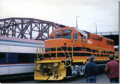 WIllamette & Pacific GP39-2 #2304 at Union Station in Portland, Oregon on May 11 ,1996