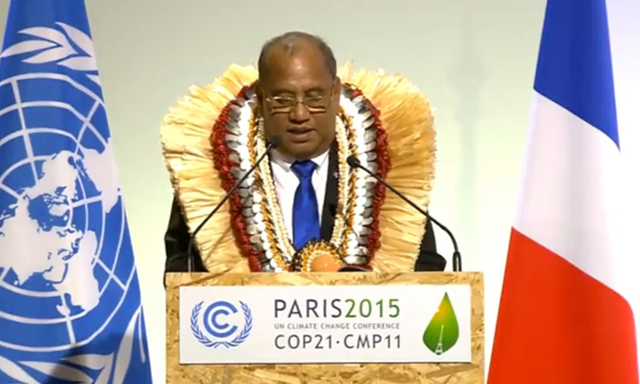 Christopher J Loeak, president of the Marshall Islands, at the Paris climate talks, 30 November 2015. Photograph: UNFCCC