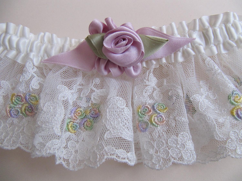 White silk Bridal garter, vintage lace, purple vintage style ribbonwork