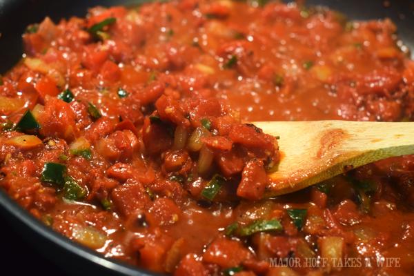 Homemade salsa recipe on the stove top