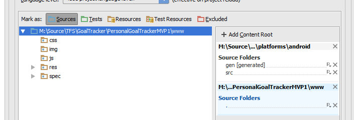 Android Studio Import PhoneGap Mark As Source