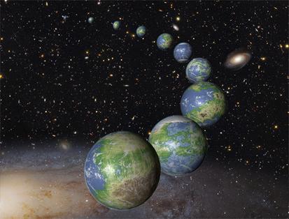 ilustração dos inumeráveis planetas parecidos com a Terra