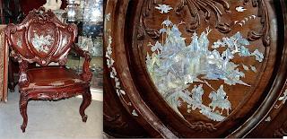 Антикварное кресло в восточном стиле. ок.1900 г. Дерево, резьба, перламутр, кость. 74/54/114 см. 2500 евро.