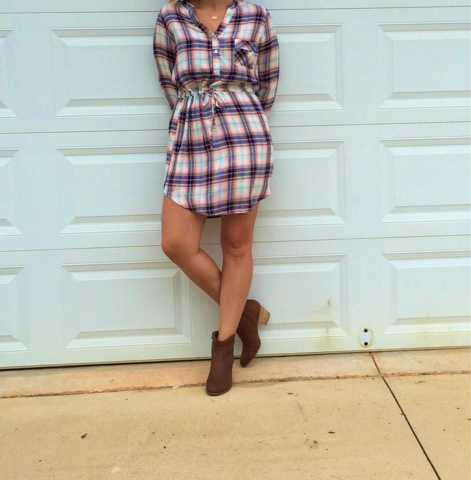 Pure Hearts Boutique, mad for plaid, plaid shirt dress, how to wear booties with a dress